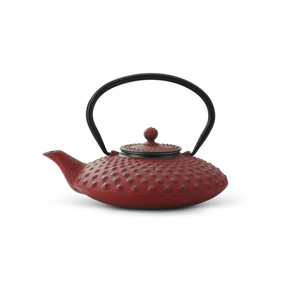 Červená litinová konvice se sítkem na sypaný čaj Bredemeijer Xilin, 800 ml