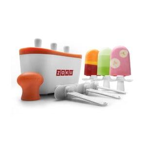 Bílá forma na 3 nanuky s oranžovým lemem ZOKU Popsicles