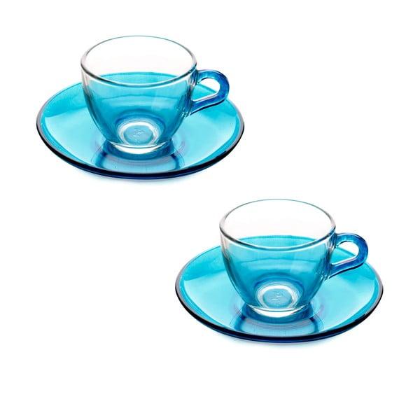 Menší šálek s podšálkem, 2ks, modrý