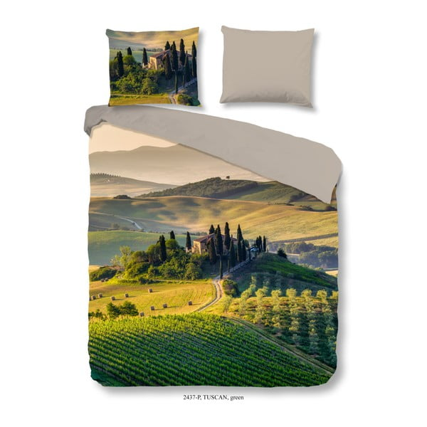 Lenjerie din bumbac pentru pat dublu Good Morning Tuscan Green, 200 x 240 cm