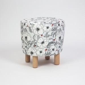 Taburet s dřevěnými nohami Cono Mariquita, ⌀41cm