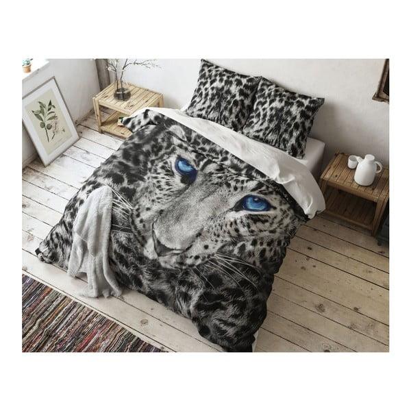 Šedé povlečení z mikroperkálu na dvoulůžko Sleeptime Cheetah,160x200cm