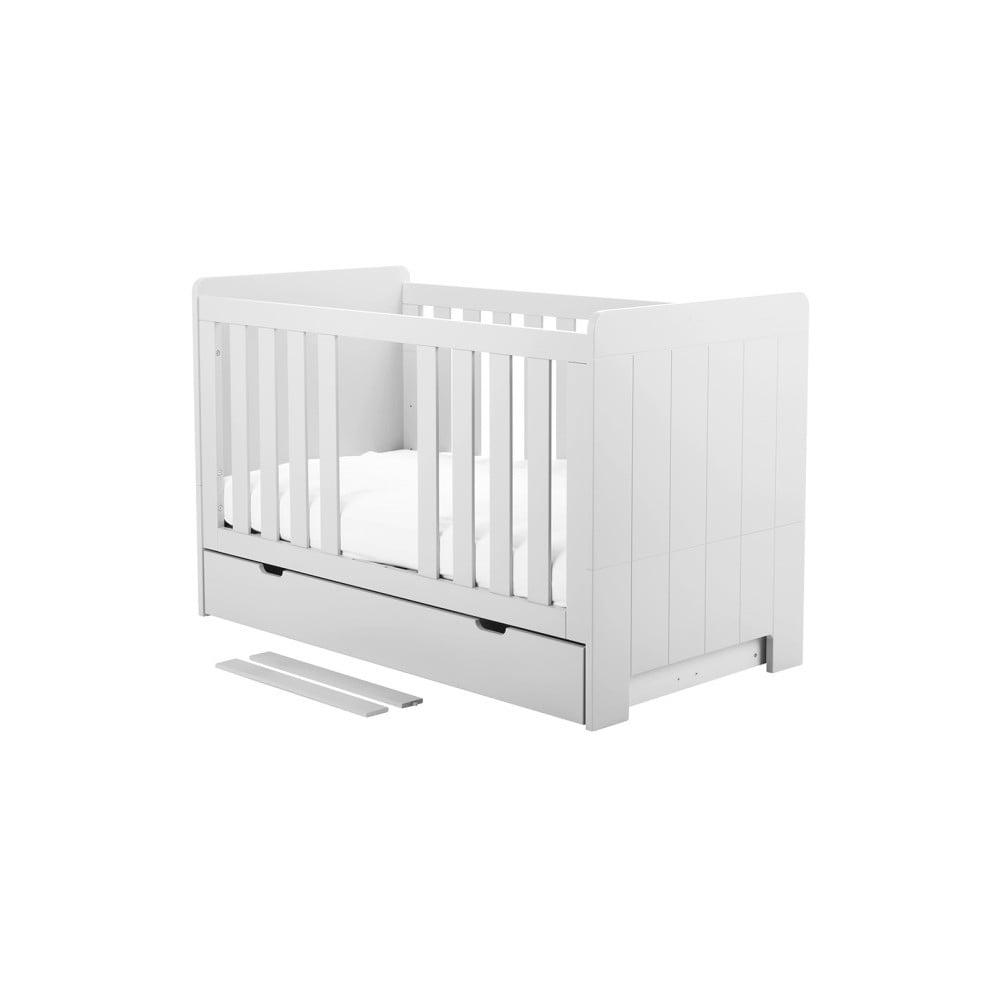 Bílá variabilní dětská postýlka Pinio Calmo, 140 x 70 cm