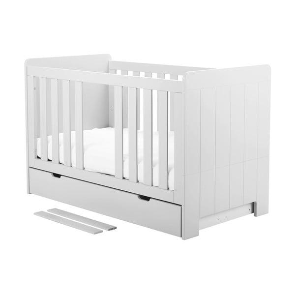 Bílá variabilní dětská postýlka Pinio Calmo,140x70cm
