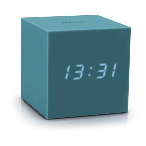 Modrý LED budík Gingko Gravity Cube