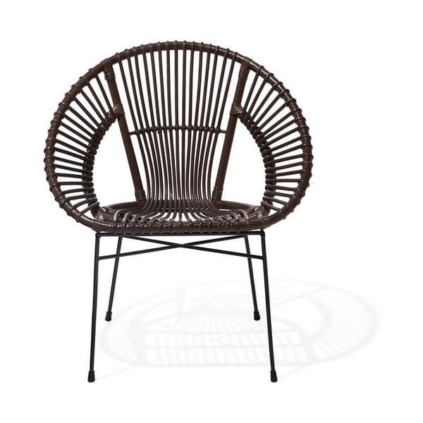 Brązowy fotel rattanowy Monobeli Noemi