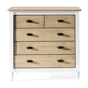 Dřevěná komoda s bílými detaily a 5 šuplíky Sob Irelia