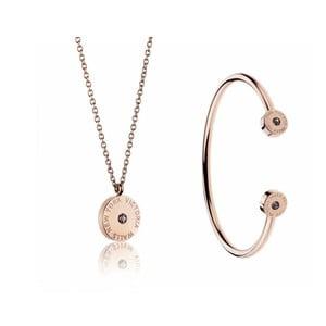 Set náhrdelníku a náramku z chirurgické oceli v barvě růžového zlata Victoria Walls Lia