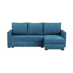 Canapea pe colț, extensibilă, cu 3 locuri și spațiu pentru depozitare Melart Andy, albastru