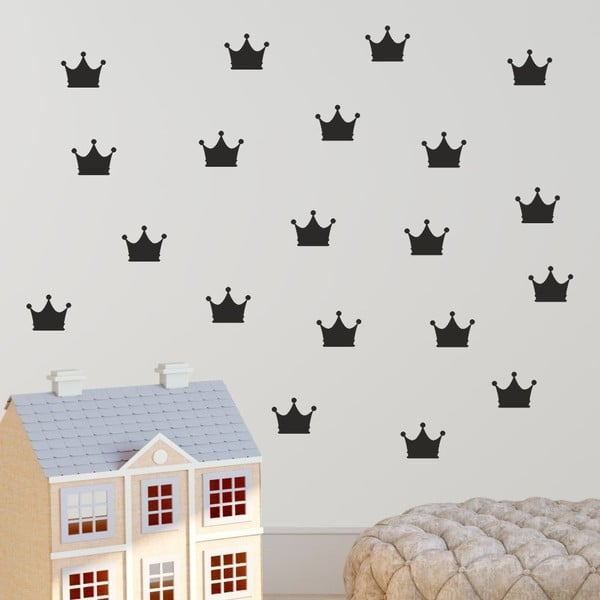 Crown fekete öntapadós falmatrica szett - North Carolina Scandinavian Home Decors