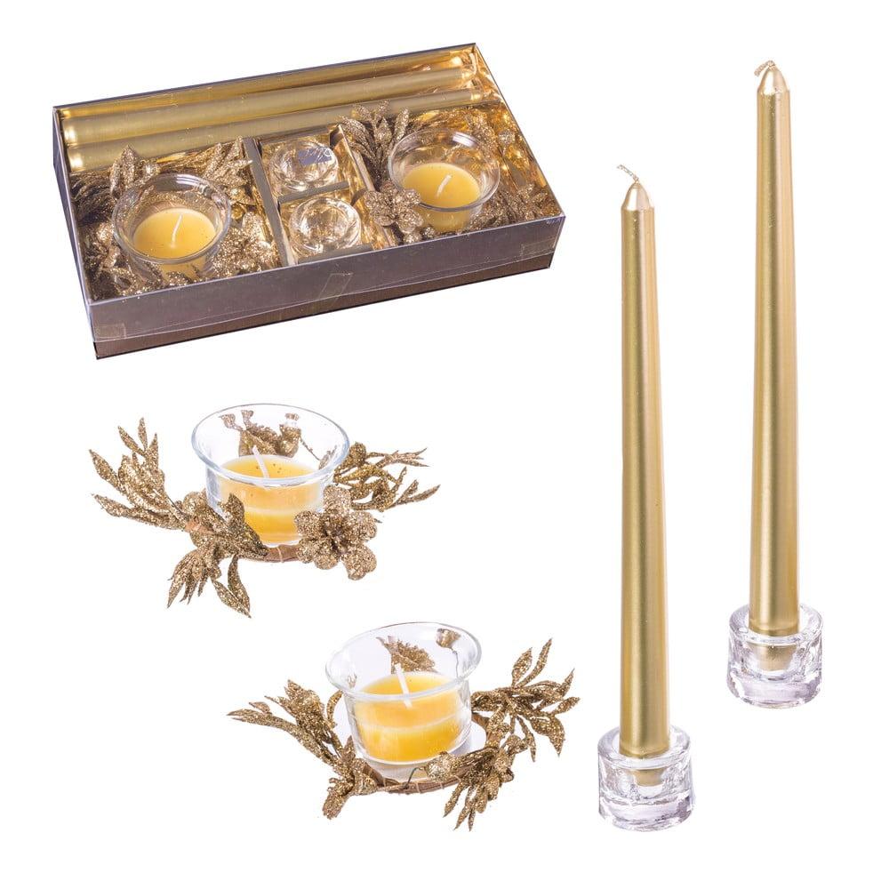 Sada 4 vánočních svícnů ve zlaté barvě Unimasa Glitter Unimasa