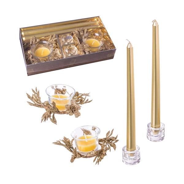 Glitter 4 db aranyszínű gyertyatartó - Unimasa