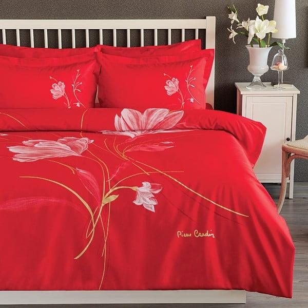 Povlečení Pierre Cardin Red Flower s prostěradlem, 200x220 cm