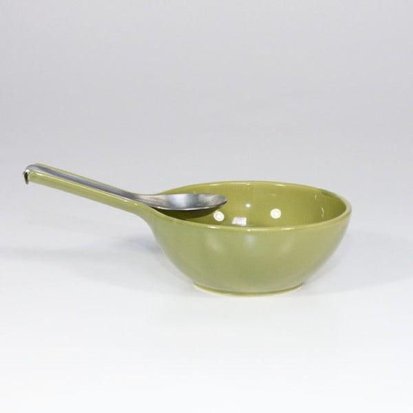 Mísa s lžící, olivově zelená