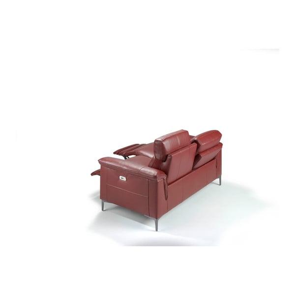 Červená kožená dvoumístná pohovka s polohovacím mechanismem Ángel Cerdá Fabulosa