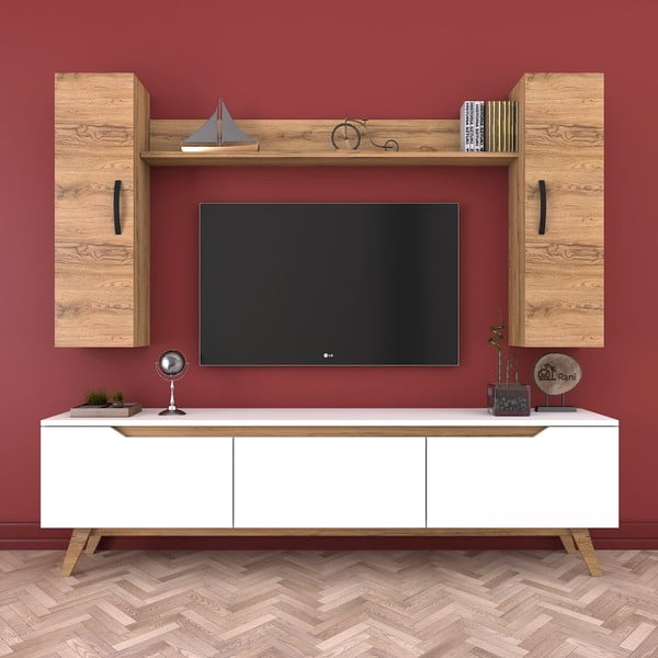 Zestaw komody pod TV, 2 szafek i półki Wren