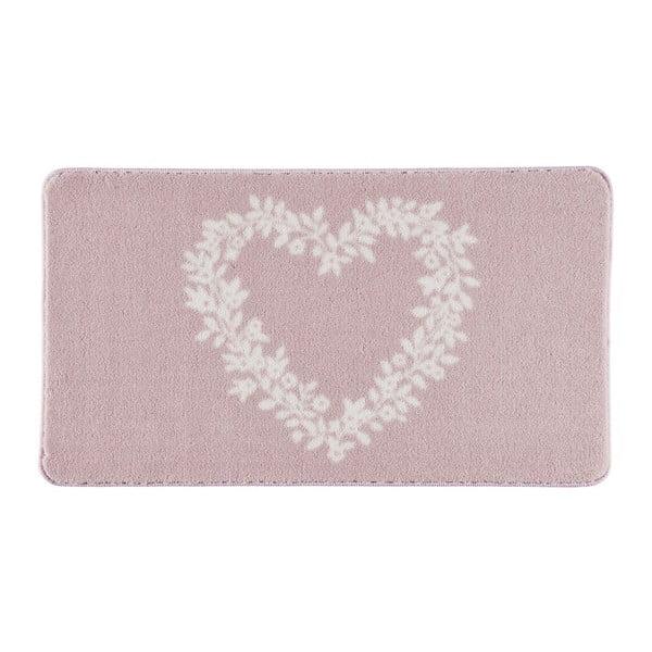 Koupelnová předložka Spring Heart Pink, 80x140 cm