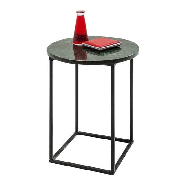 Odkládací stolek z kovové konstrukce se zelenou mramorovou deskou Kare Design