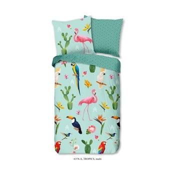 Lenjerie de pat din bumbac pentru copii Good Morning Tropics, 140 x 200 cm, verde de la Good Morning
