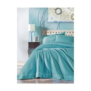 Tyrkysový set přehozu na dvoulůžko a 2 povlaků na polštáře Permento Azul, 230 x 260 cm