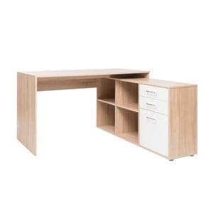 Rohový pracovní stůl v dekoru dubového dřeva s bílými detaily Intertrade London