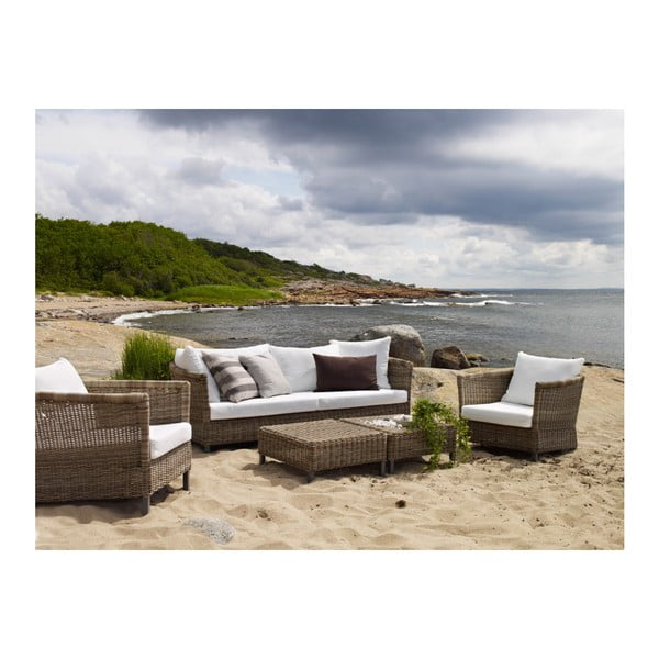 Trojmístná zahradní sedačka s bílým polstrováním Brafm Menorca