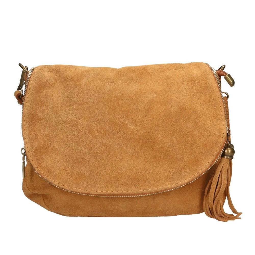 Světle hnědá kožená kabelka Chicca Borse Nela 75506a5bfb