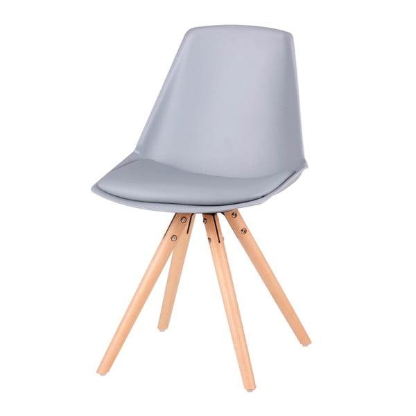 Sada 4 šedých židlí s nohama z bukového dřeva sømcasa Bella