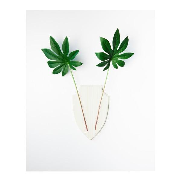 Biela nástenná dekorácia z borovicového dreva Surdic Deer Vase