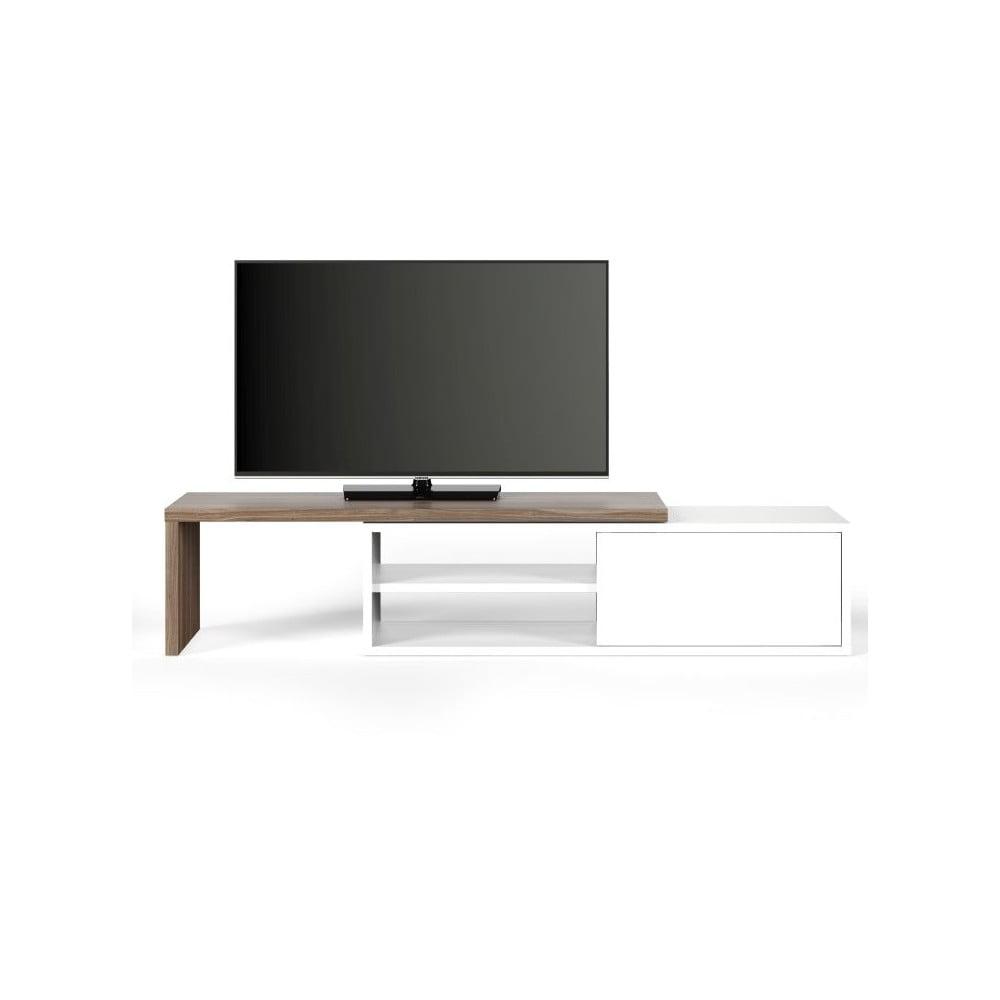 Bílý televizní stolek s detaily v dekoru ořechového dřeva TemaHome Move