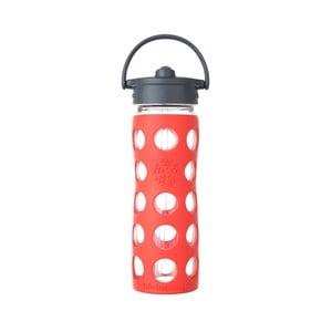 Sticlă de voiaj cu pai, din sticlă, cu protecție din silicon, Lifefactory Poppy, 475 ml