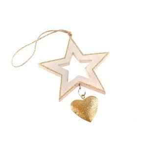 Dřevěná závěsná hvězda ve zlaté barvě Dakls