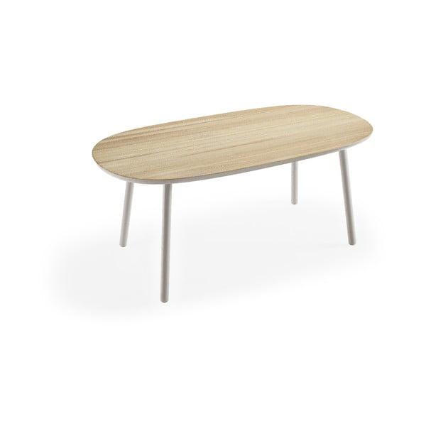 Masă dining din lemn de frasin EMKO Naïve, 180 x 90 cm, cu picioare gri