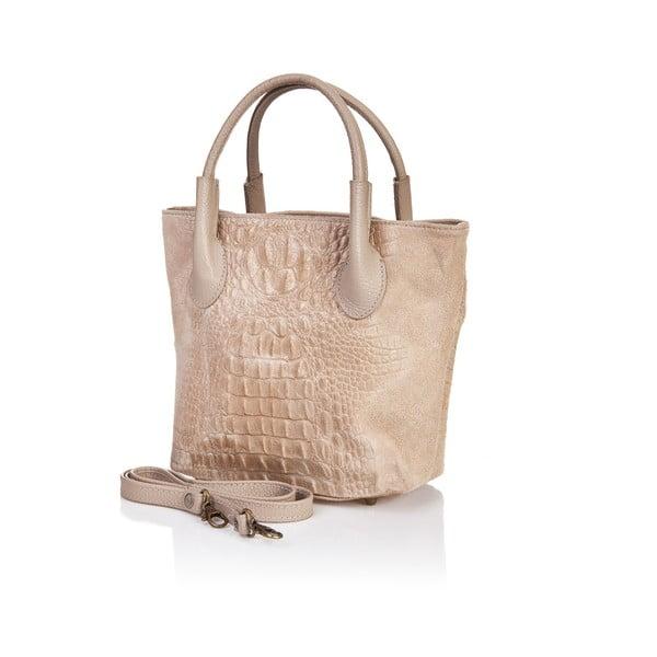Béžová kožená kabelka Massimo Castelli Crocco Suede