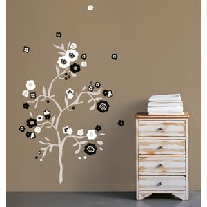 Samolepka na zeď Černobílé květiny