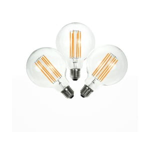 Sada 3 LED žárovek Bulb Attack GLOBE Linear, E27 6,5 W