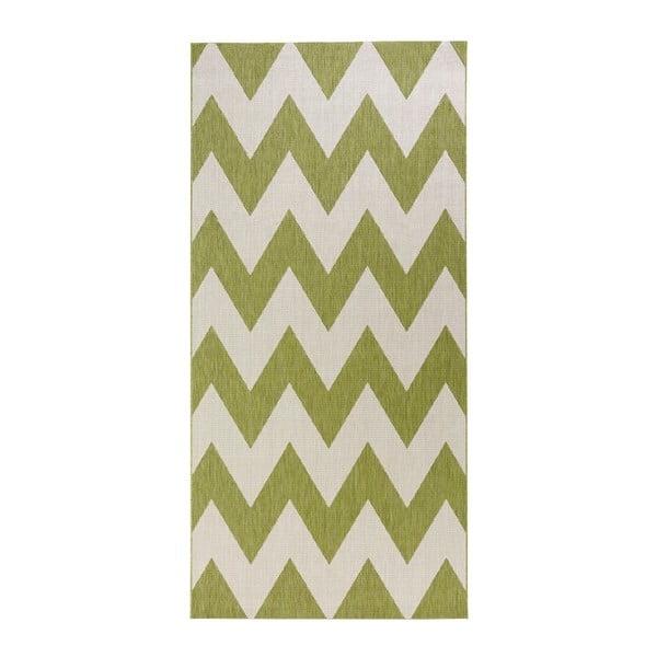 Unique zöld-fehér kültéri szőnyeg, 80 x 150 cm - Bougari