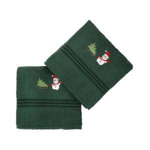 Sada 2 ručníků Corap Green Snowman, 50x90 cm