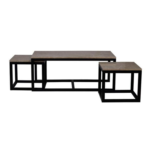 Černý konferenční stolek s mramorovou deskou Folke Sydney,50x50cm