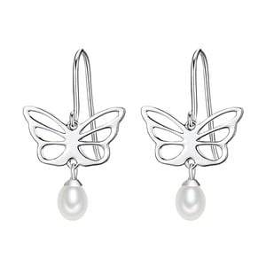 Cercei din argint cu perlă albă Chakra Pearls Butterfly