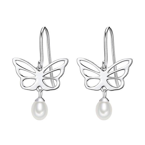 Stříbrné náušnice s bílou perlou Chakra Pearls Butterfly