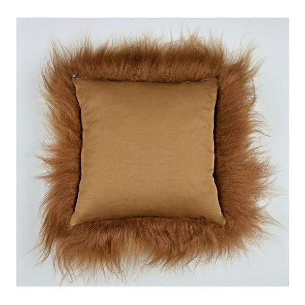Hnědý kožešinový polštář s dlouhým chlupem, 35x35cm