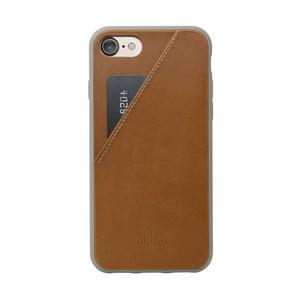 Hnědý kožený obal na mobilní telefon s přihrádkou na kartu pro iPhone 7 a 8 Native Union Clic Clac