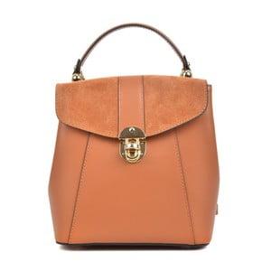 Koňakově hnědý kožený batoh Isabella Rhea Milesso