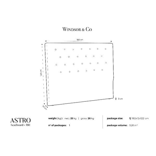 Černé čelo postele Windsor & Co Sofas Astro, 180 x 120 cm