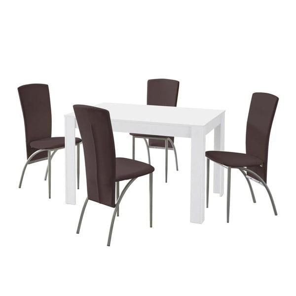 Set jídelního stolu a 4 tmavě hnědých jídelních židlí Støraa Lori Nevada White Brown