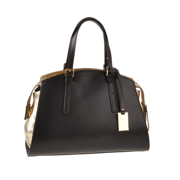 Kožená kabelka Emilio Masi Aston, zlatá/černá