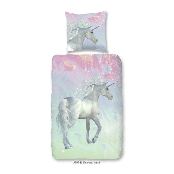 Dětské bavlněné povlečení Good Morning Green Unicorn, 140 x 200 cm