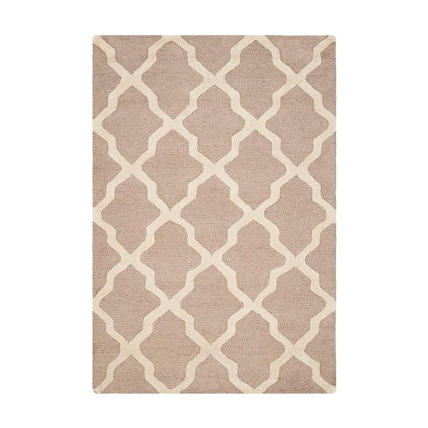 Béžový vlnený koberec Ava Beige, 91×152 cm