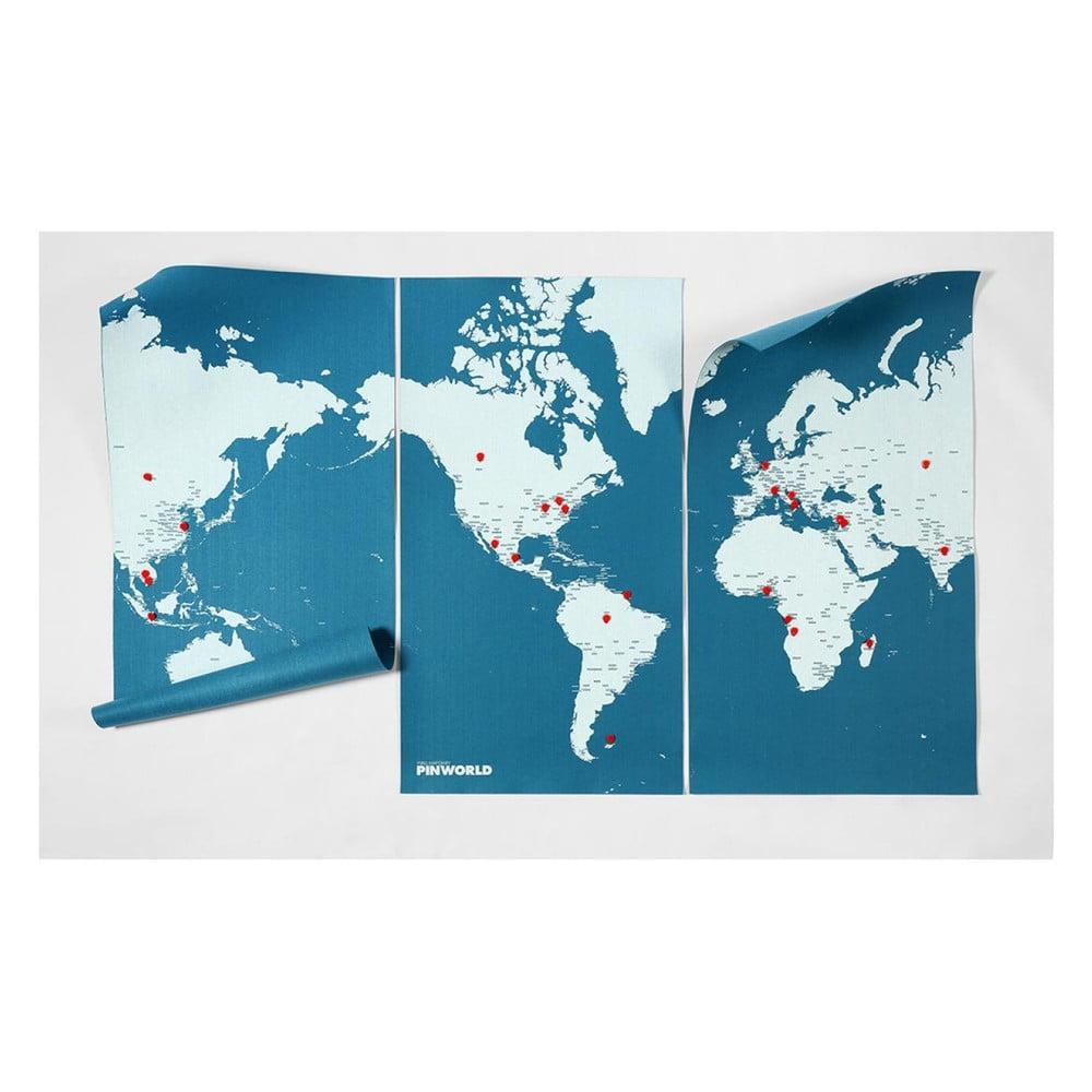 Modrá nástěnná mapa světa Palomar Pin World XL, 198 x 124 cm